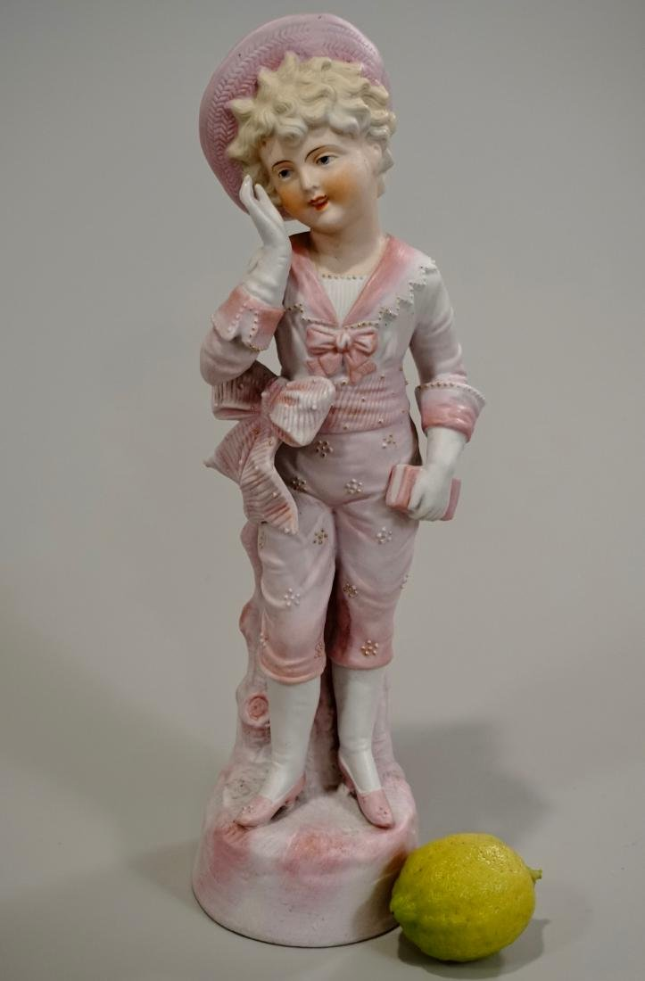 German Bisque Porcelain Pink Boy Figurine c1880