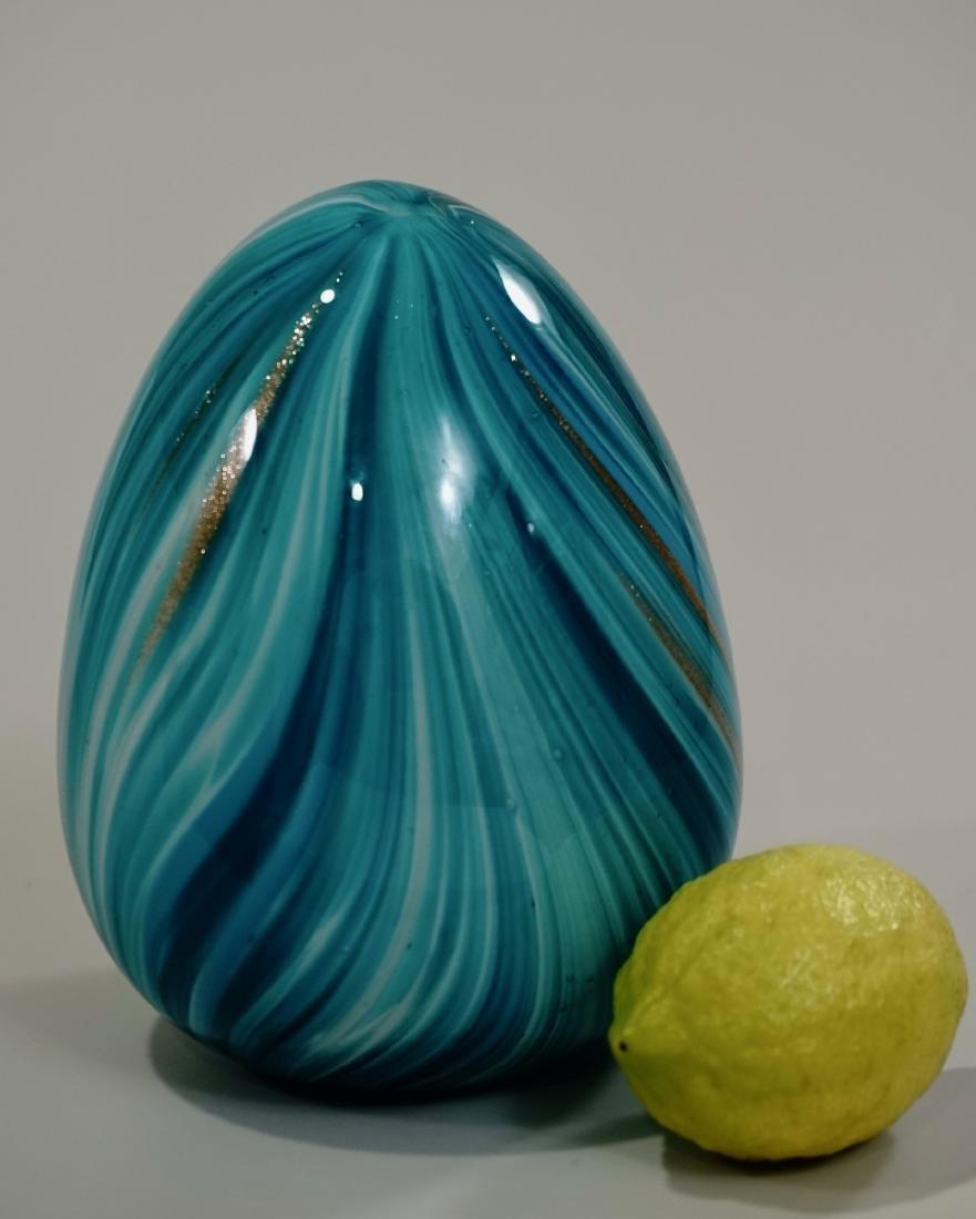 Blue Easter Egg Aventurine Pulled Feather Studio Art