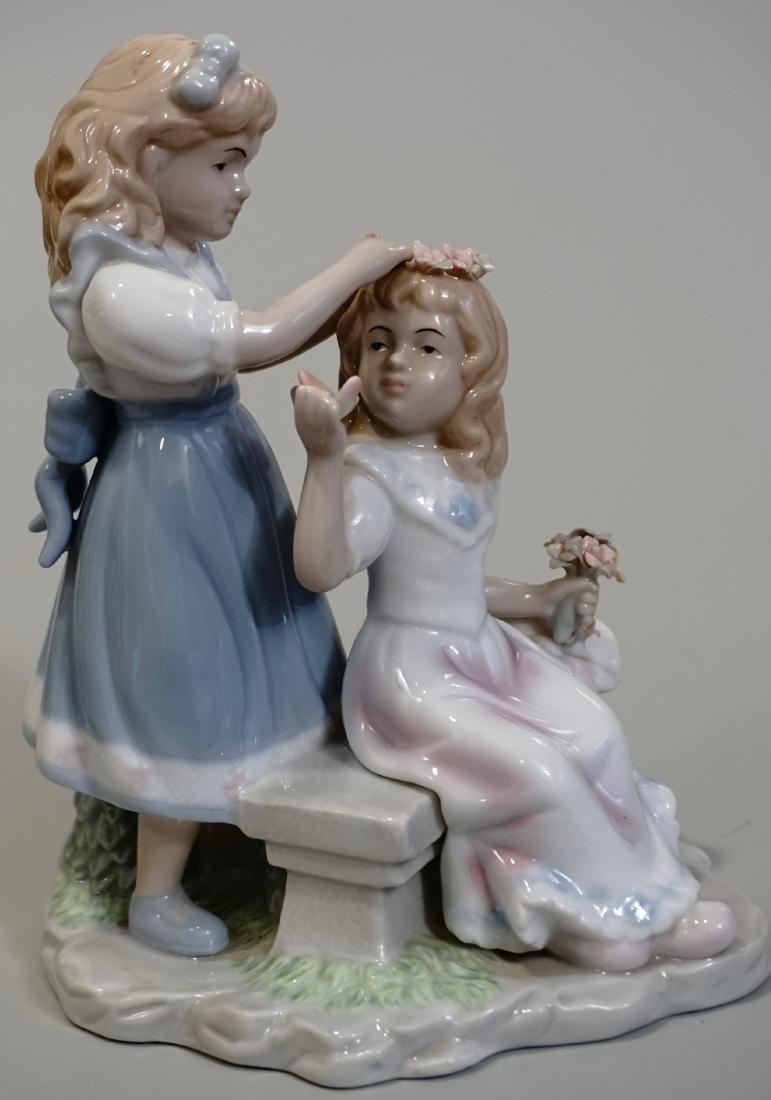 Porcelain Figurine Two Girls Making Floral Headband