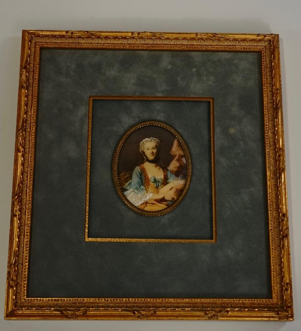 Antique Miniature Beauty Portrait Painting Illegible