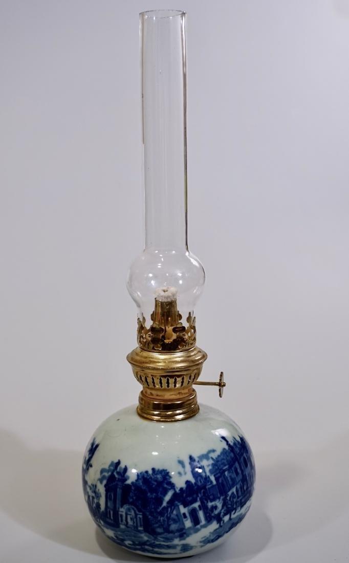 Flow Blue English Style Kerosene Lamp Modern Never Used
