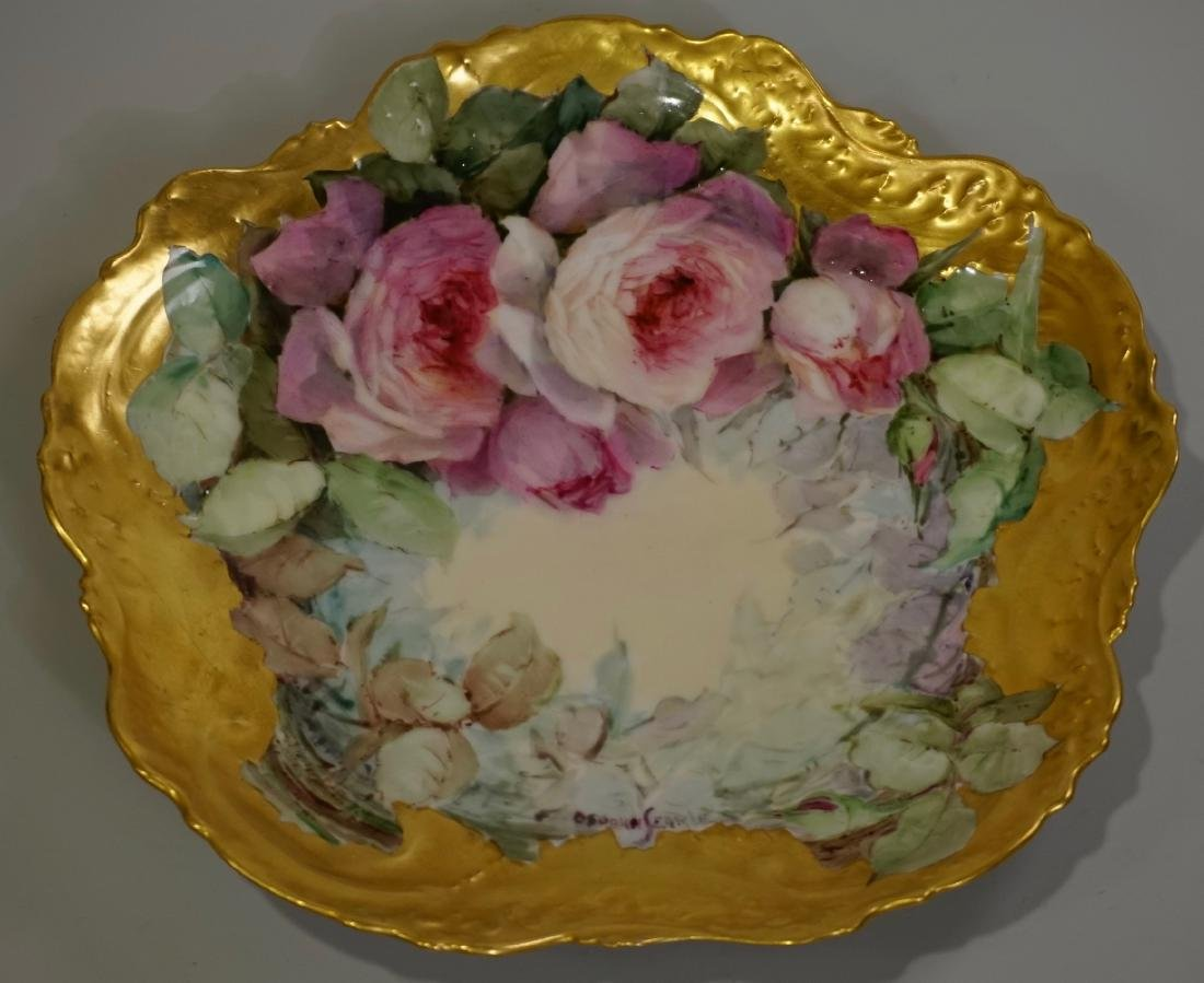 VF Limoges France Lavishly Gilded Hand Painted Roses