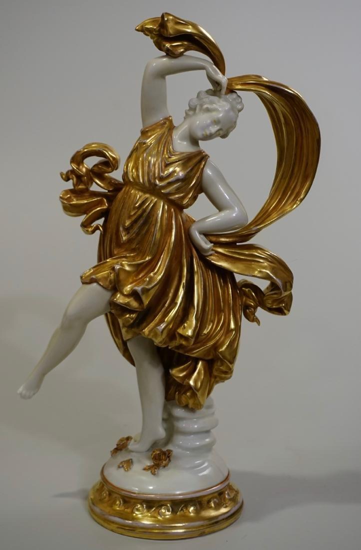 Dresden Dancing Figurine Gold Gilt & White Porcelain