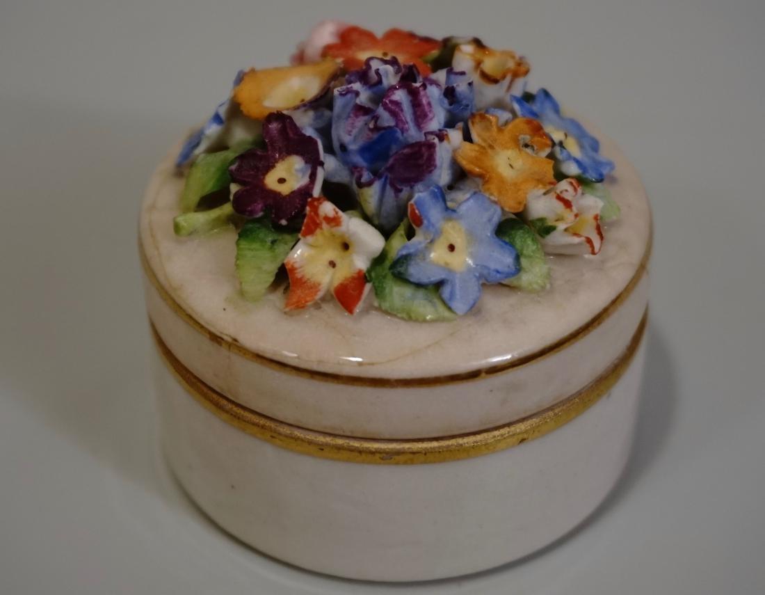 German Trinket Box Sculptured Flowers Lid