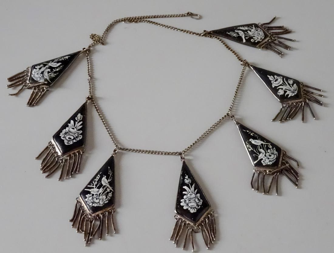Antique Vintage Persian Enamel Hand Painted Necklace