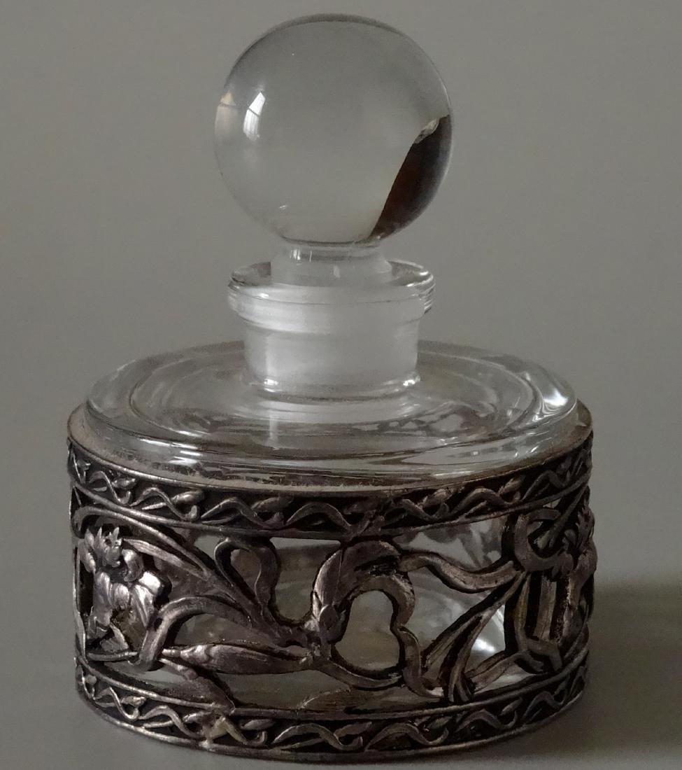 French Iris Metal Overlay Perfume Bottle