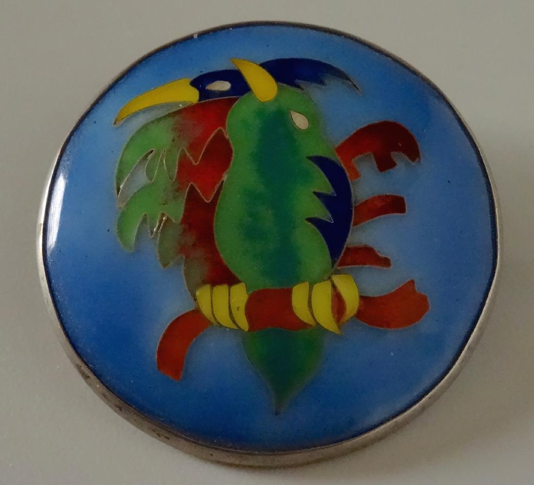 Vintage Art Deco Enameled Brooch Exotic Birds