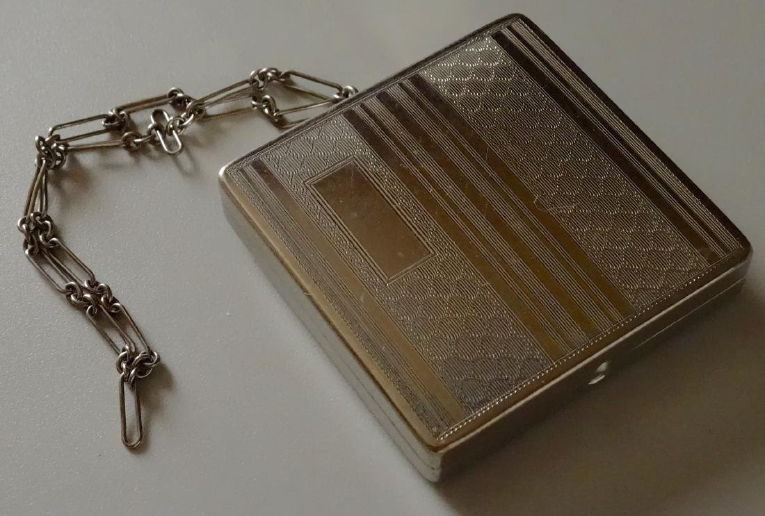 Vintage Art Deco Compact Pill Powder Box on Chain
