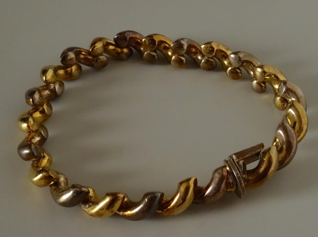 Vintage Italian Gold and Silver Bracelet 925 Hallmarks