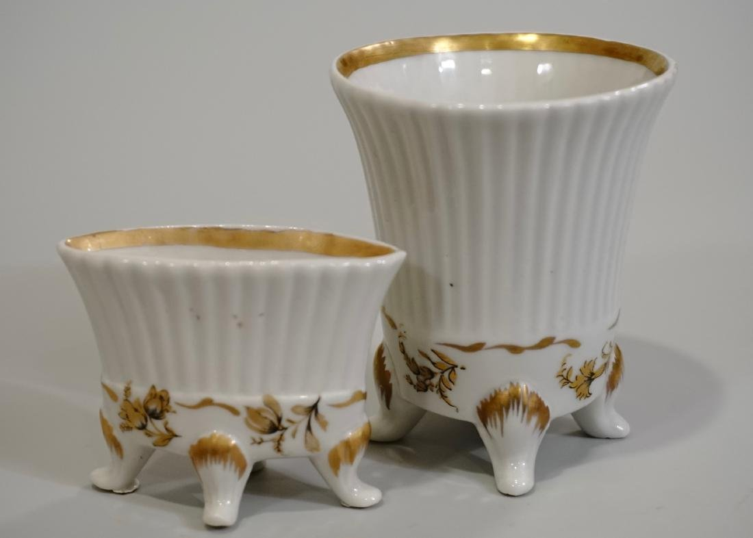 Vintage Limoges White Gold Porcelain Vanity Vases