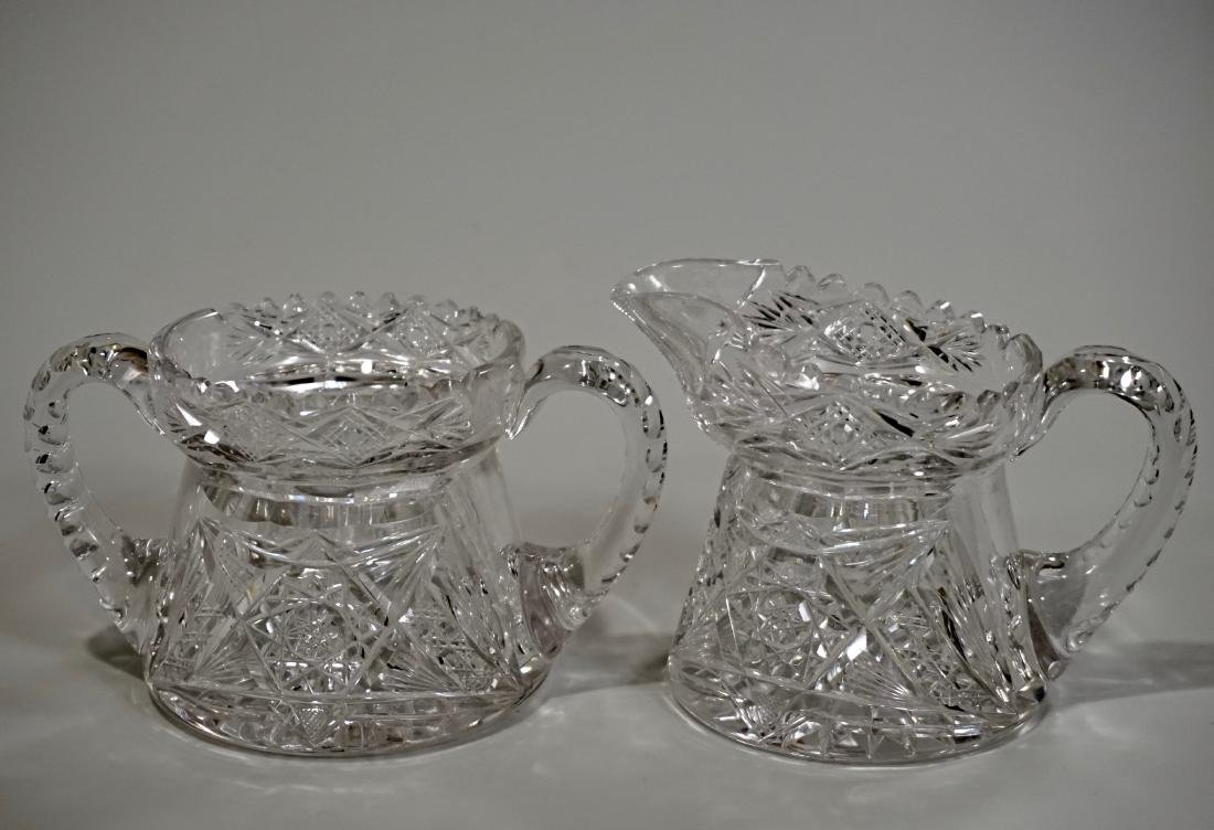 Aesthetic Antique Cut Glass Creamer Sugar Set