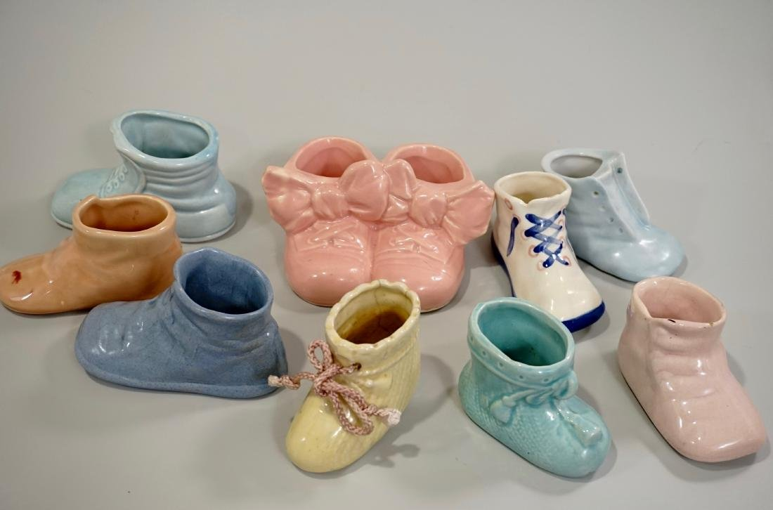 Vintage Pottery Baby Shoes Ceramic Nursery Child Bootie