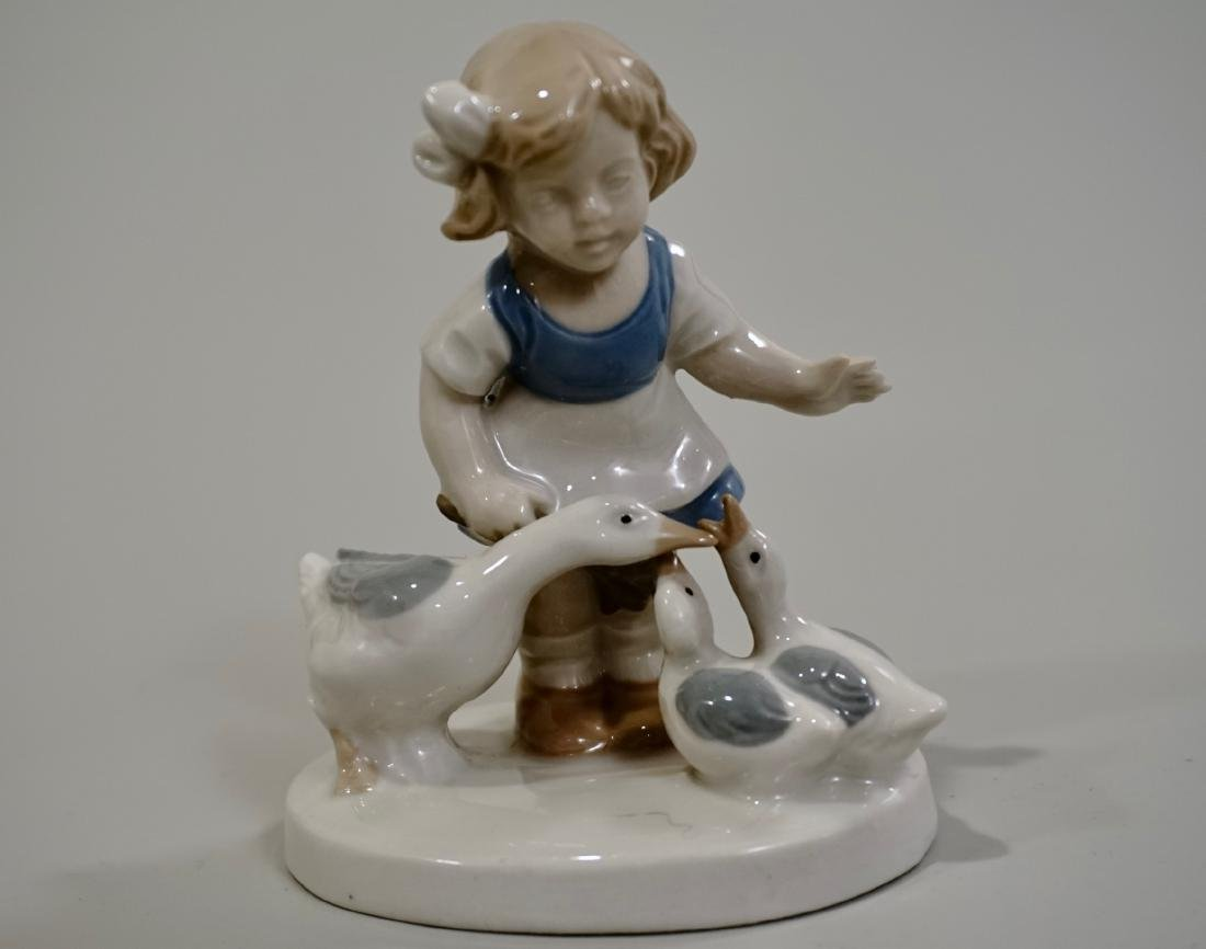 Vintage Porcelain Group Girl With Geese Lippelsdorf