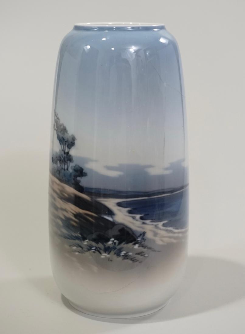 Copenhagen Porcelain Vase Hand Painted Seascape Made in