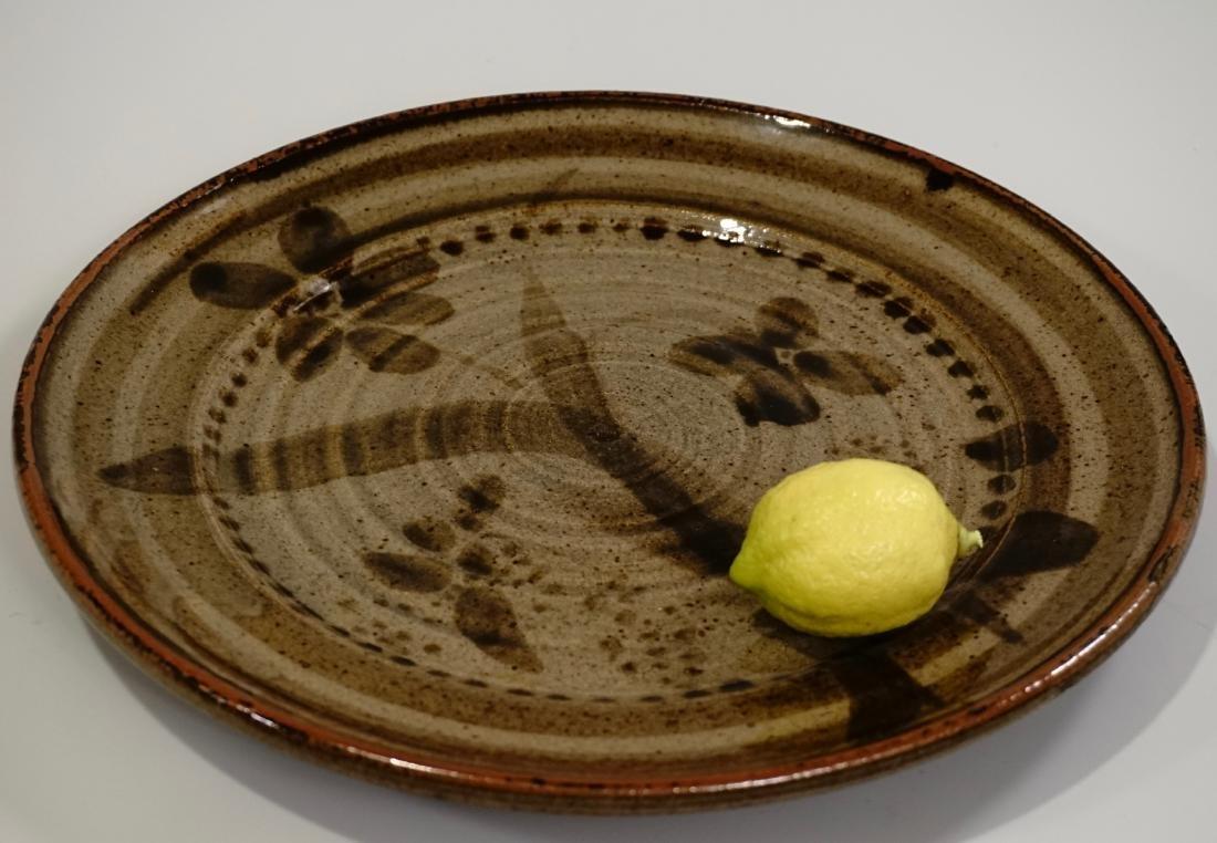 Mid Century Studio Pottery Glazed Platter Dish Signed