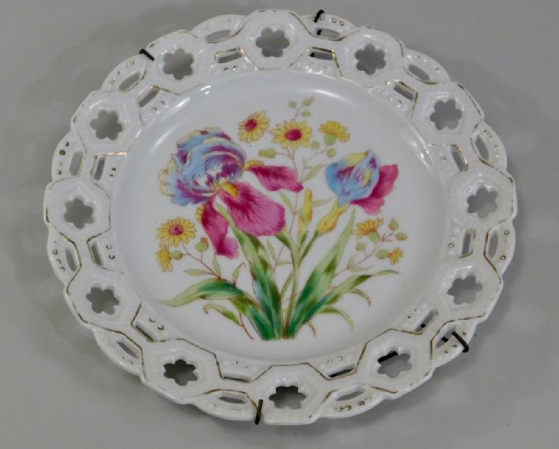 Antique Reticulated Porcelain Iris Plate Wall Plaque