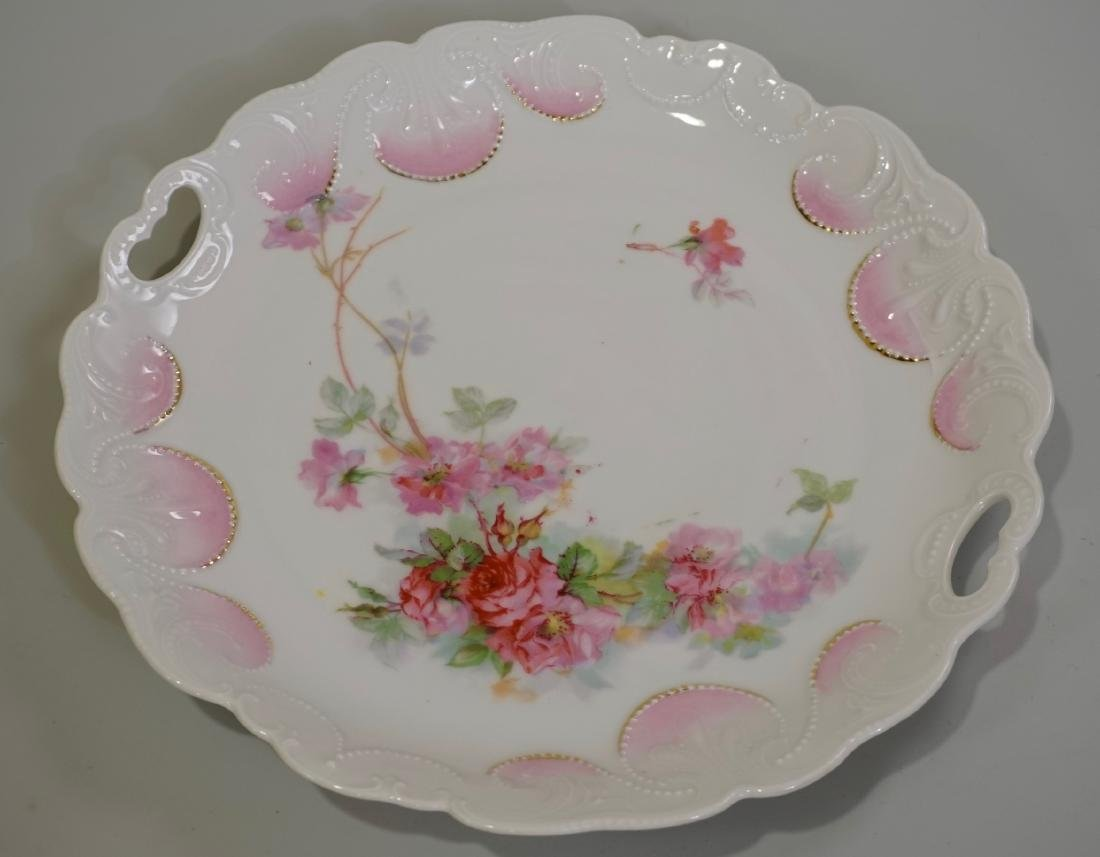 Antique c 1900 Pink Roses Porcelain Charger With 2