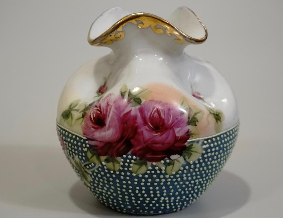 Moriage Pinched Cabinet Vase Hand Painted Rose Design