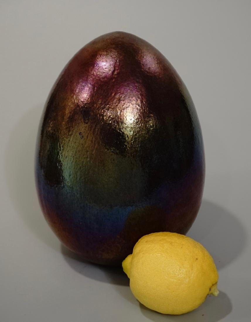 Huge Art Glass Iridescent Easter Egg