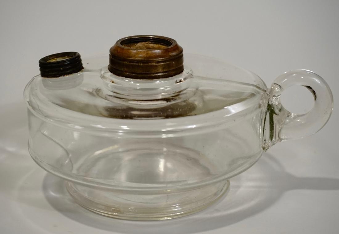 Antique Kerosene Oil Finger Lamp Font Clear Glass