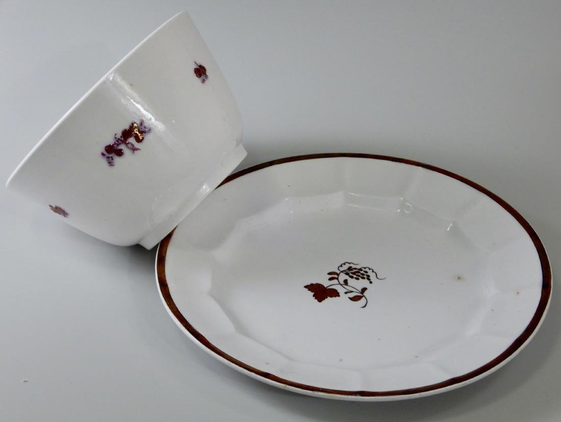 Antique Copper Luster English China Bowl and Plate Tea