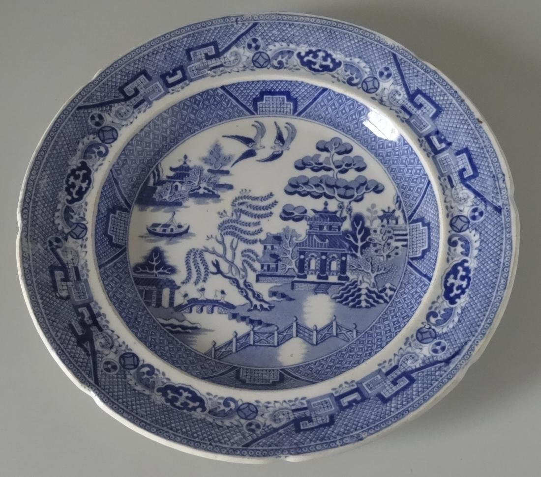 Antique Iron Stone China Blue Willow Transfer Plate
