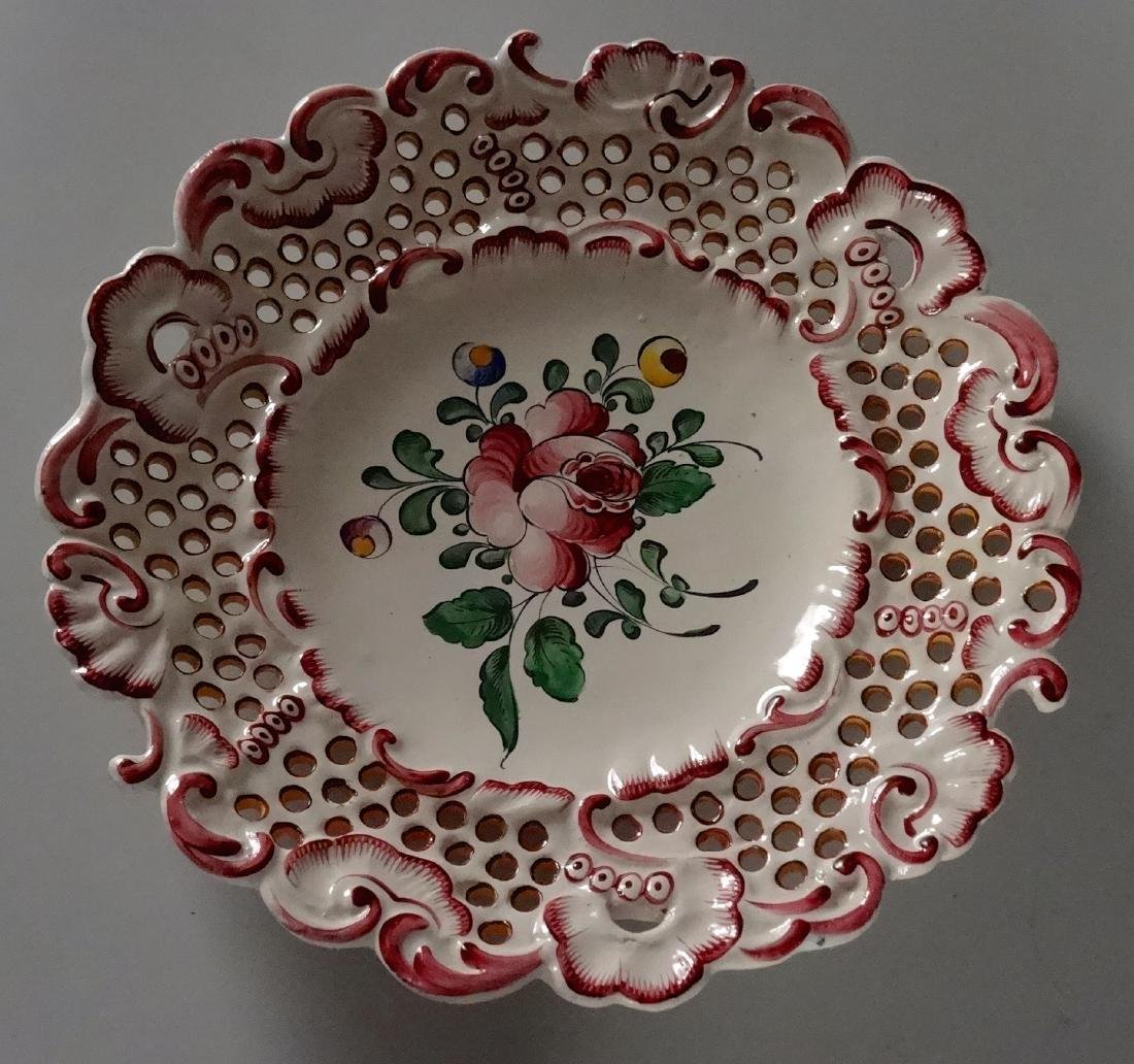 Antique French Faience Flower Plate Hand Painted