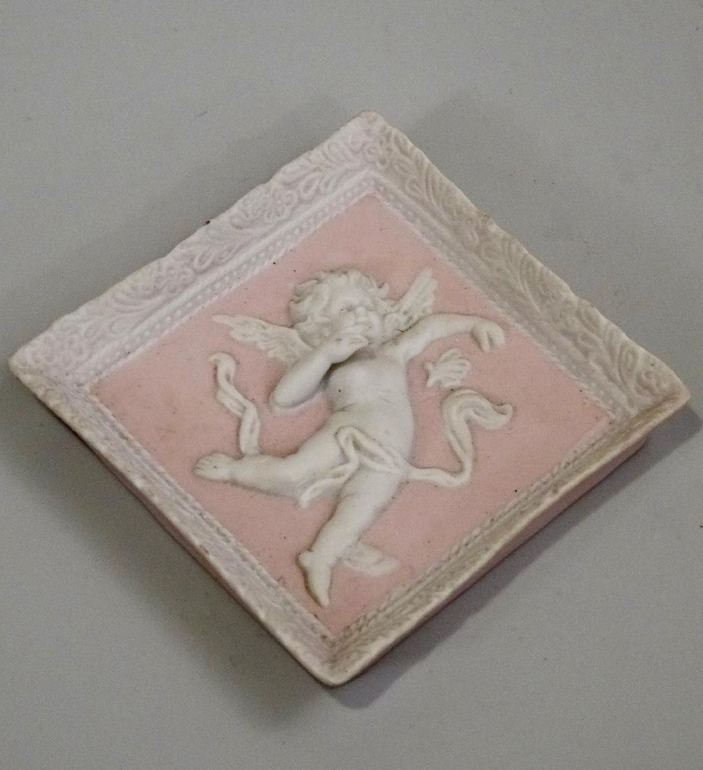 Pink Bisque Wall Plaque Cherub Angel 3d Figurine