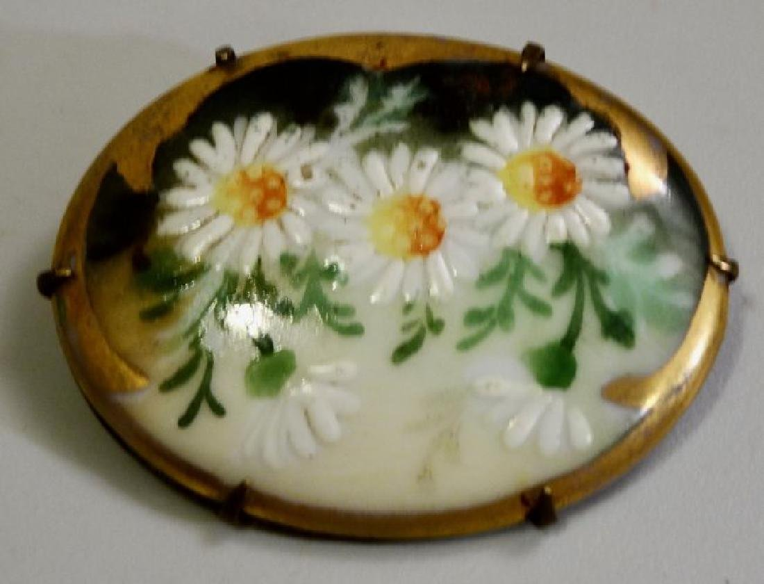 Painted Porcelain Daisy Flowers Pin Brooch