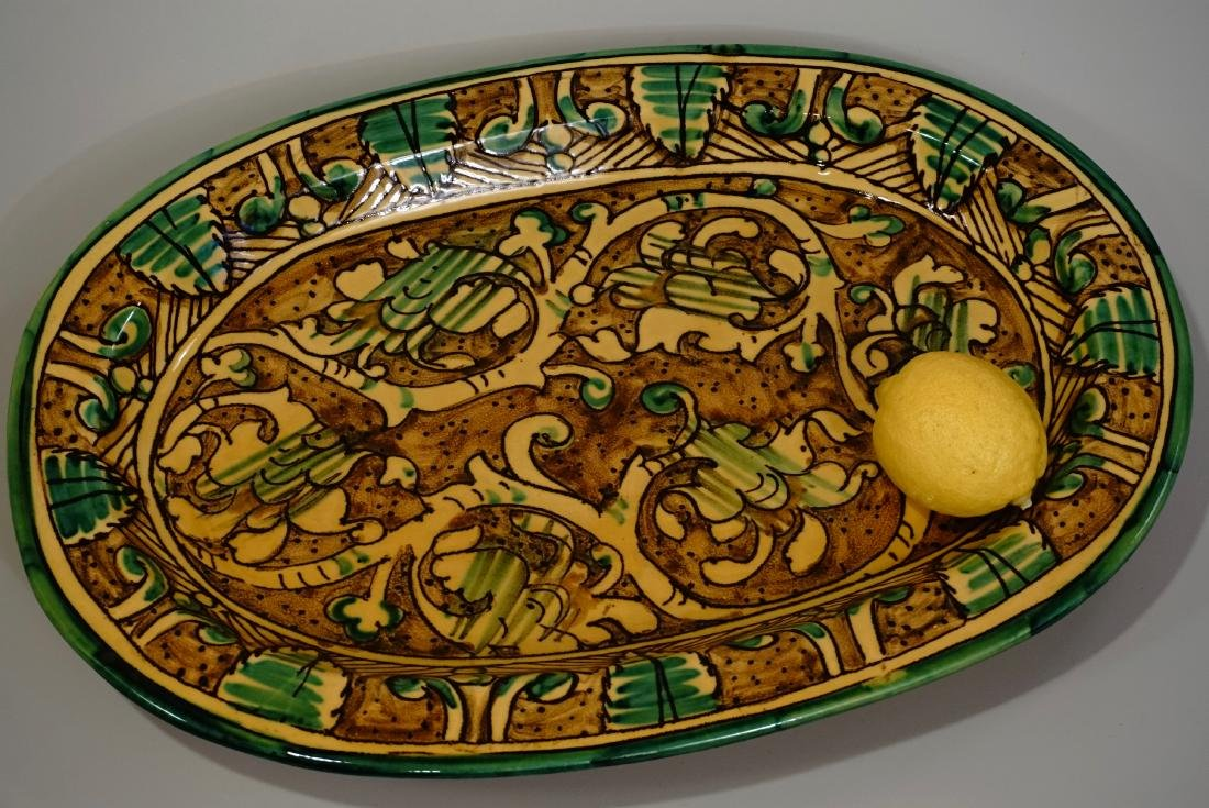 Italian Large Hand Painted Hanging Platter Wall Plaque