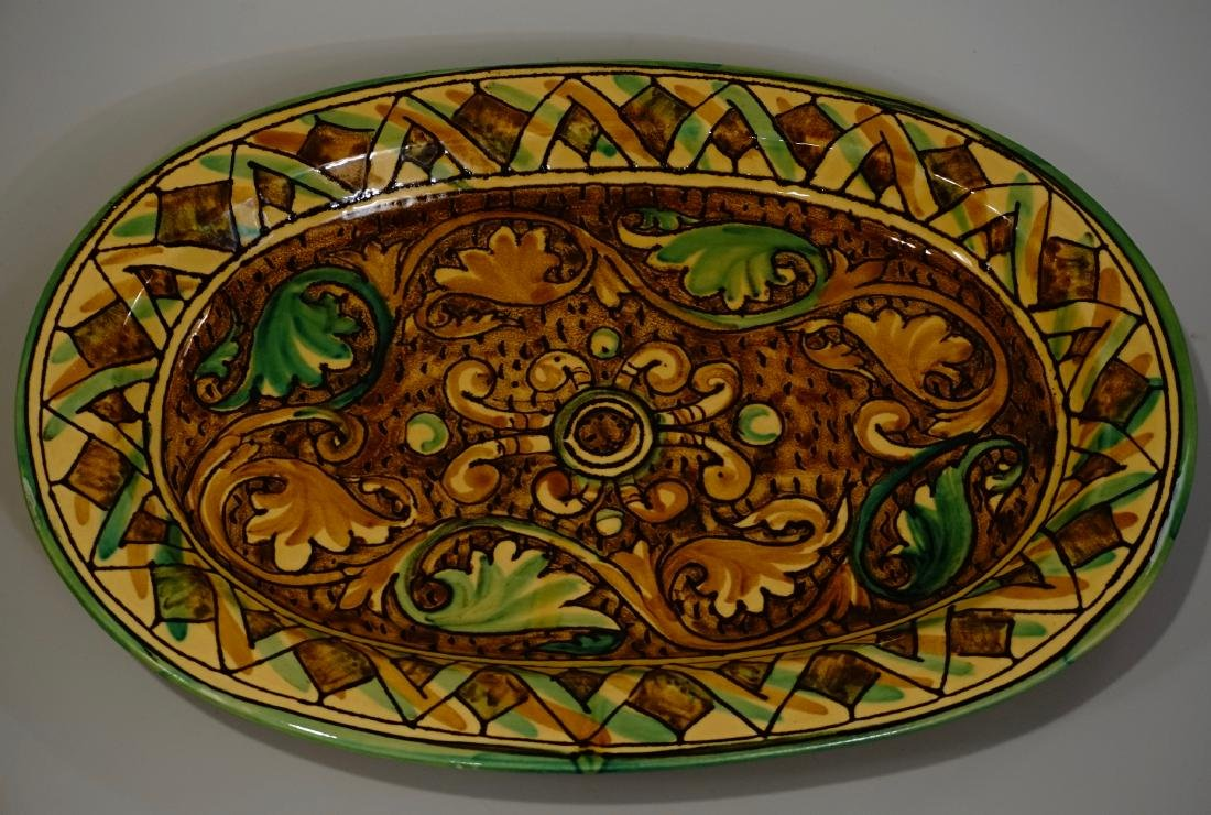 Ceramic Hand Painted in Italy Oval Platter Large Wall