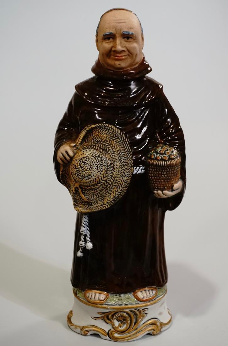 Italian Capodimonte Majolica Monk Figural Decanter