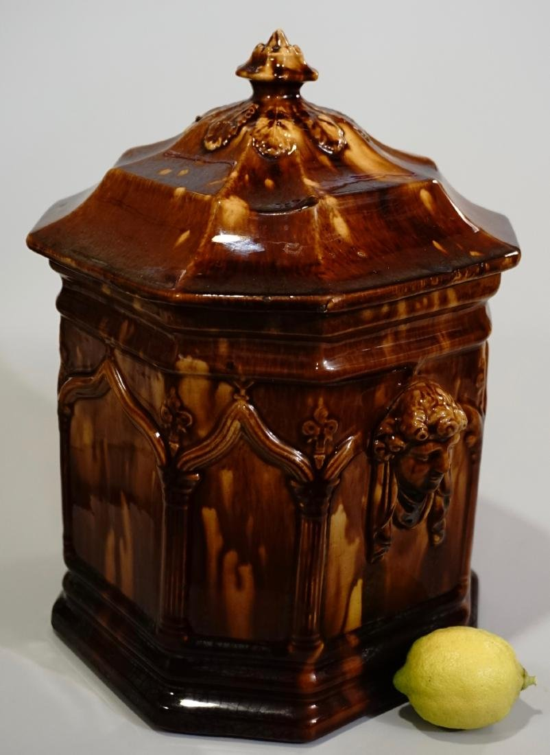 Rockingham Glazed Gothic Arch Mascaron Cookie Jar Brown