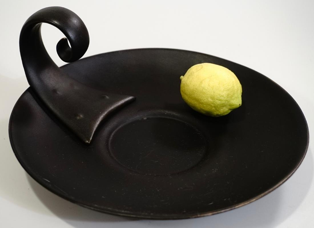 Painted Black Ceramic Platter With Handle