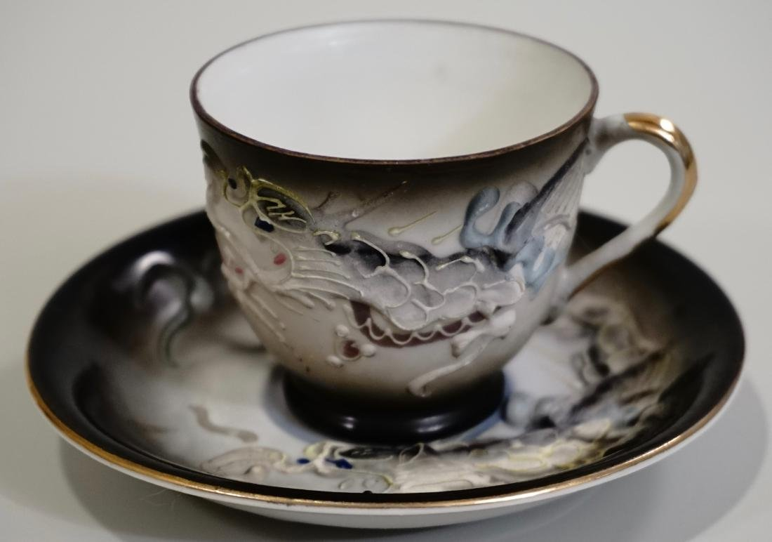Moriage Dragon Geisha Cup Saucer Set Lithophane