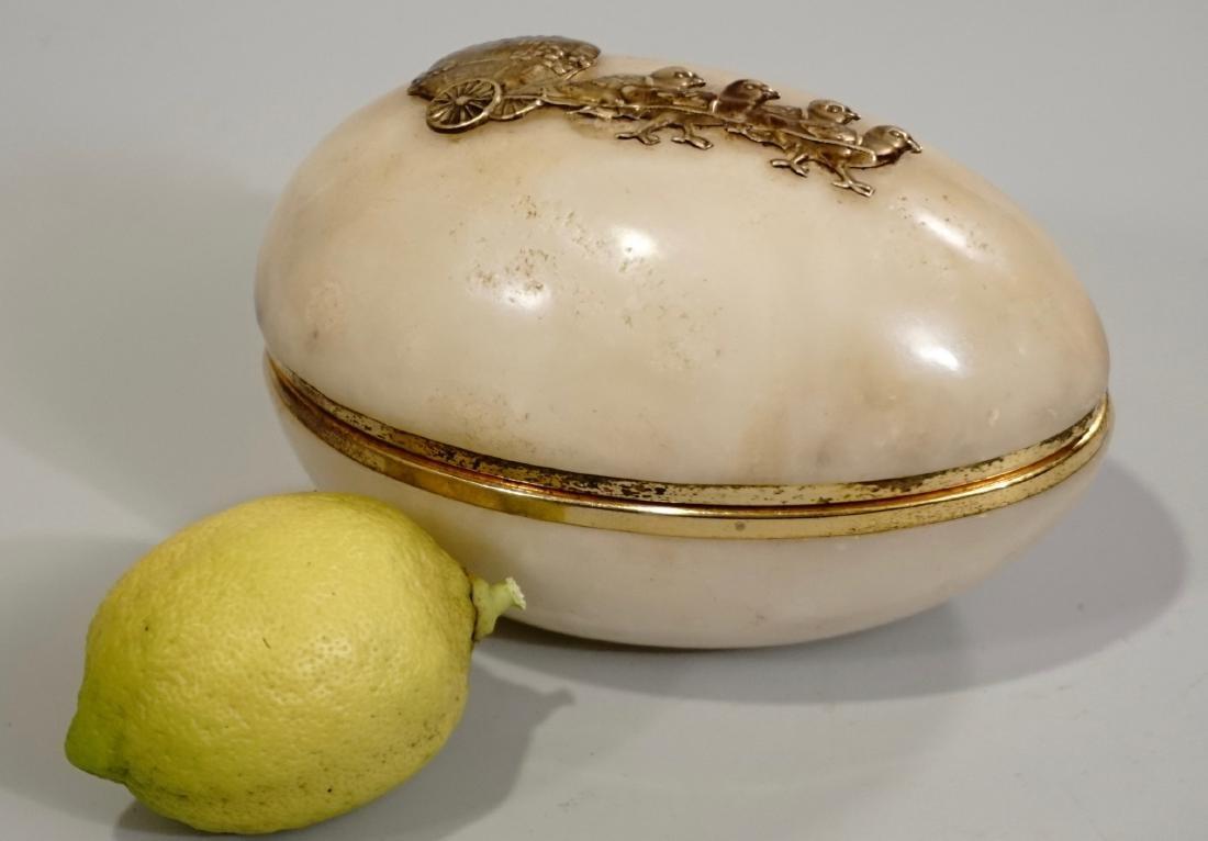 Vintage Alabaster Easter Egg Hinged Box Chicks Pulling