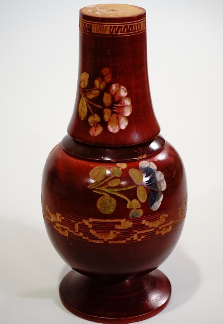 Vintage Turned Wood Bottle Decanter Cup Set Tumble Up