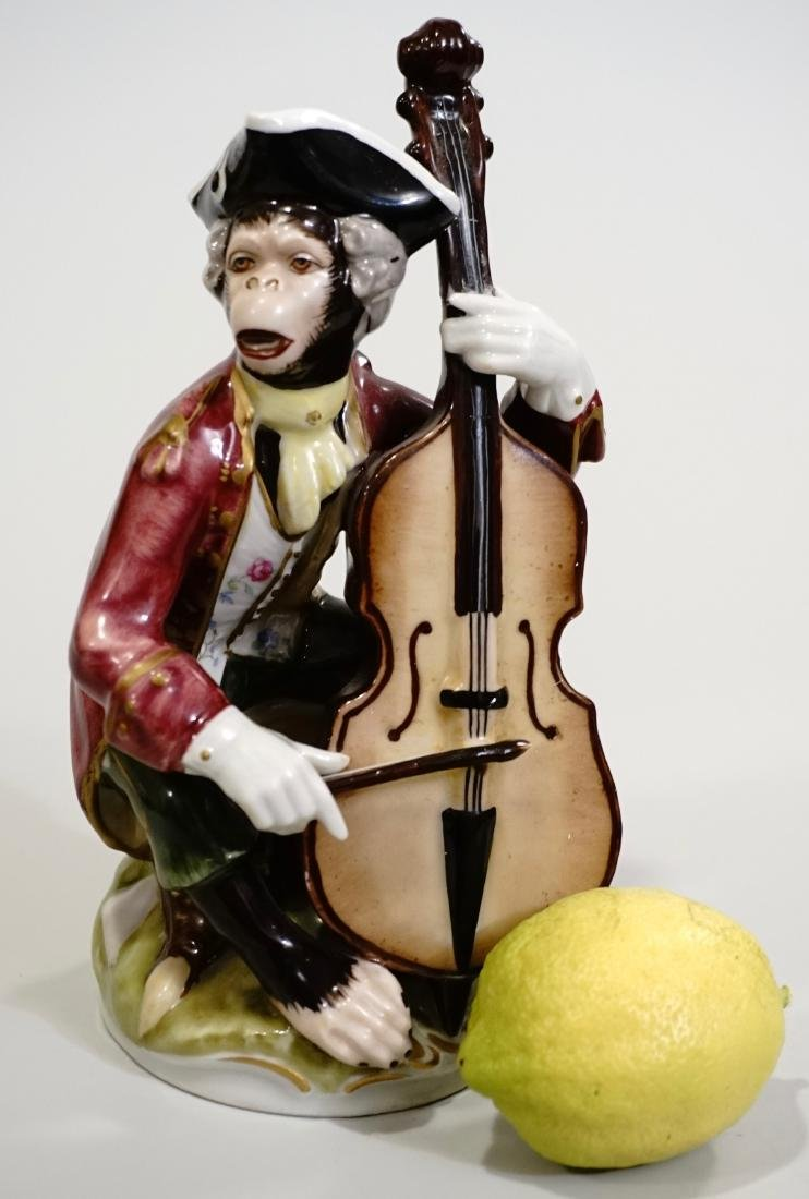 Monkey Band Cello Player Painted Porcelain Figurine