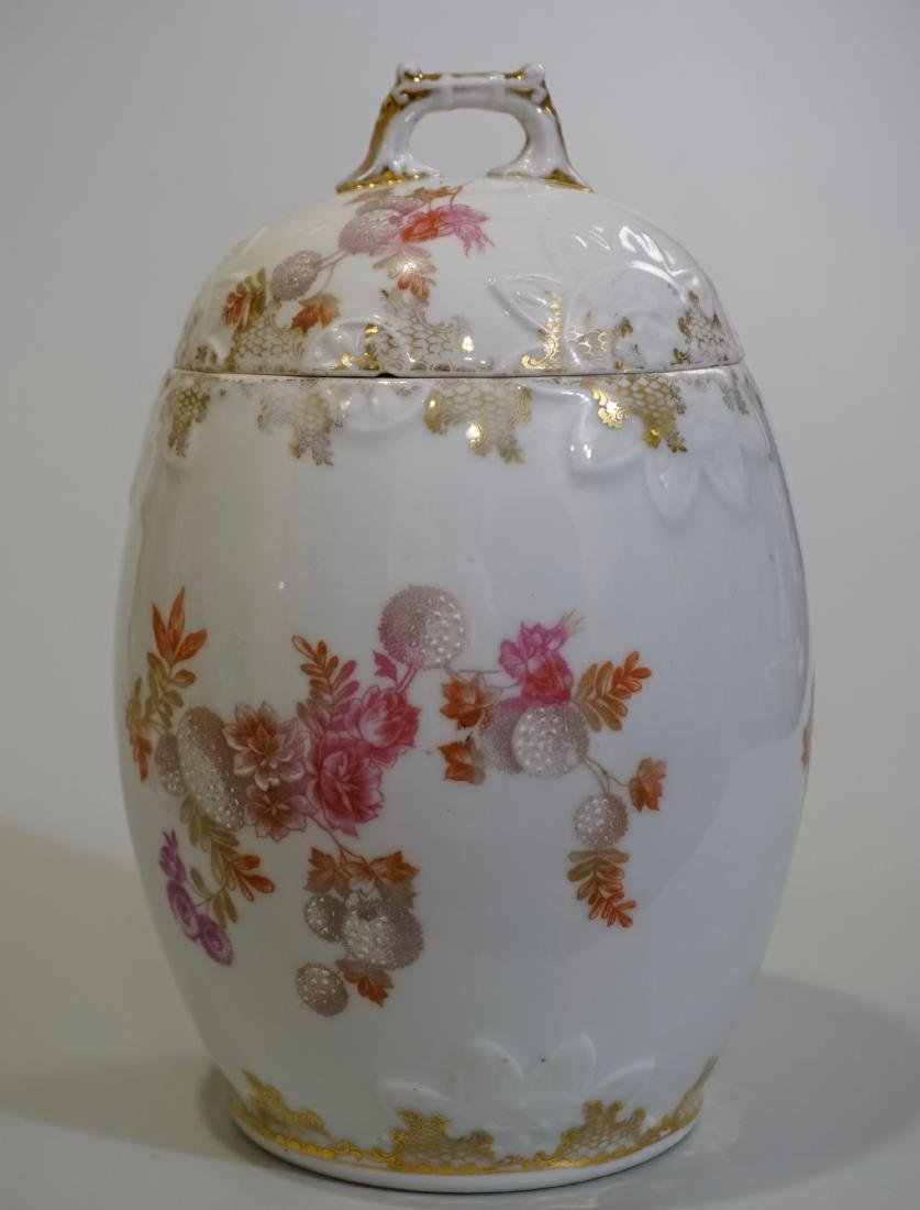 Antique Porcelain Egg Shaped Jar with Lid