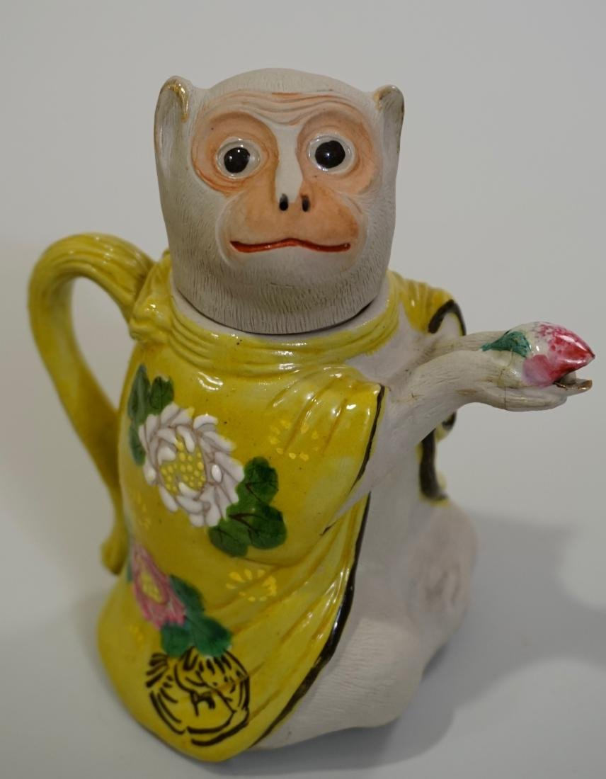 Japanese Banko Art Pottery Monkey Figural Teapot Bisque