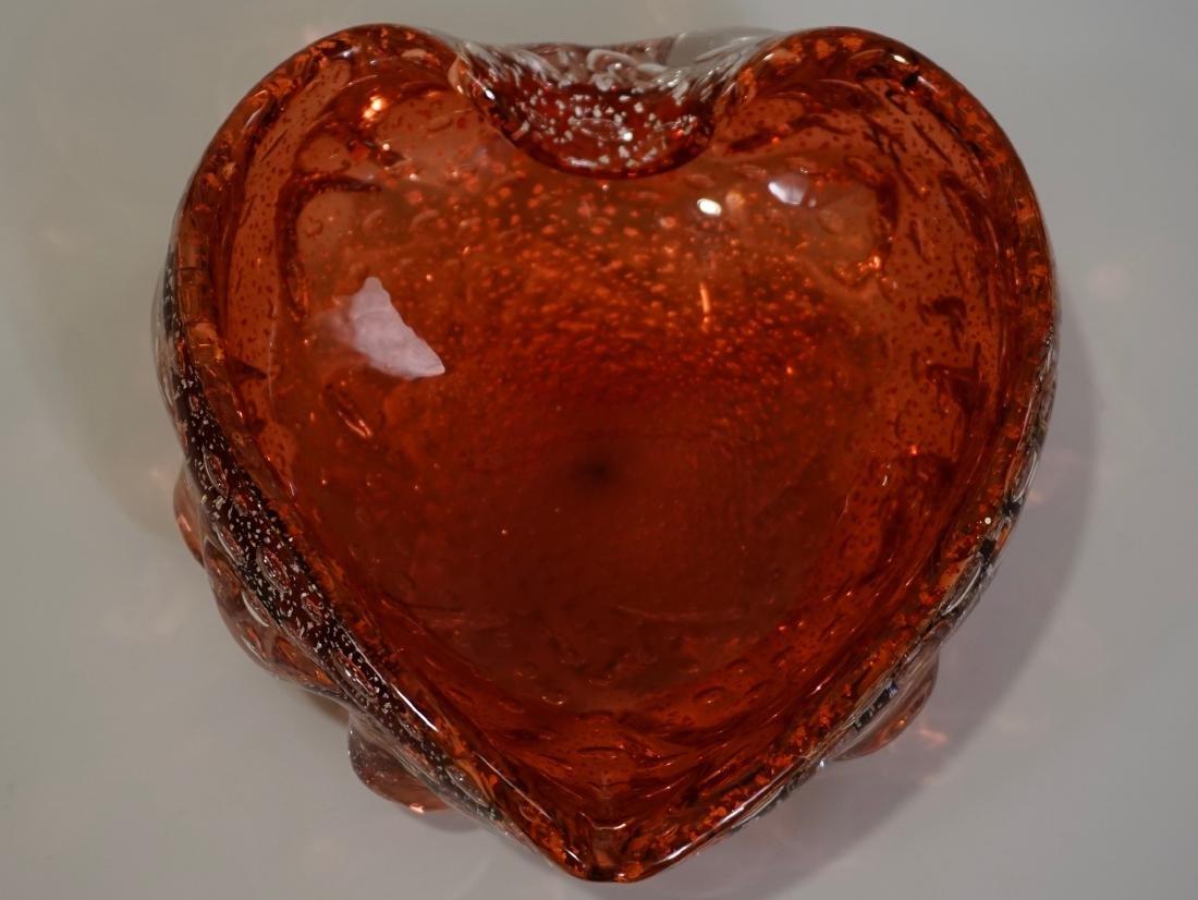 Murano Heart Shaped Italian Art Glass Bowl Vintage