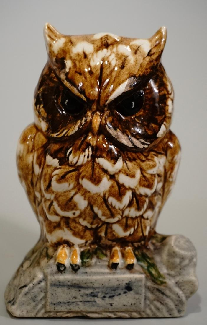 Glazed Pottery Owl Money Bank Figurine