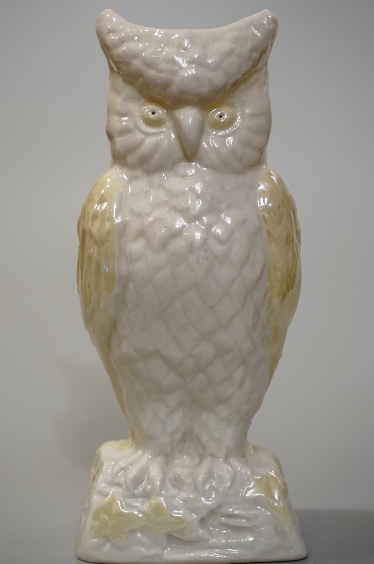 Belleek Irish Porcelain Owl Vase Yellow Lustre 6th