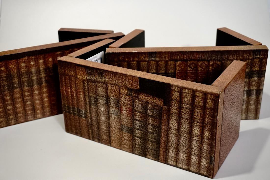 Trompe L'oeil Faux Book Shelf Hide Foldable Tray Lot of