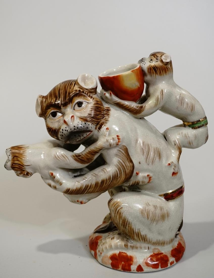 Monkeys Figural Pitcher Hand Painted Contemporary