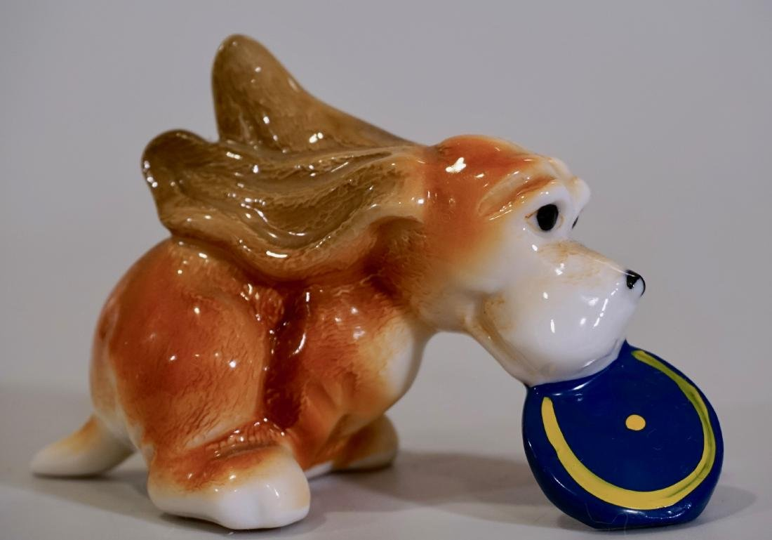 Happy Fetch Dog Mid Century Ceramic Figurine Catching