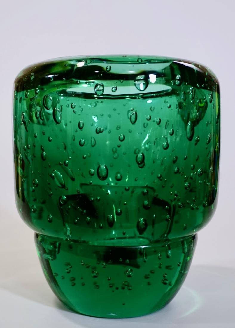 Vintage Mid Century Emerald Green Bubbles Art Glass