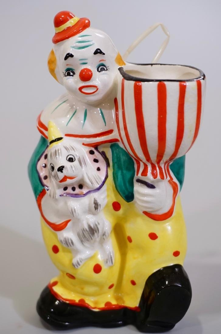 Ceramic Clown & Dog Figurine Vanity Stand Wall Pocket