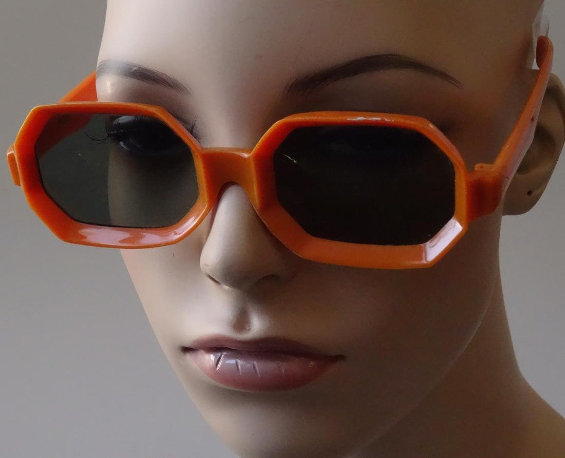 Vintage 60s Sunglasses Orange Plastic Frame Italy
