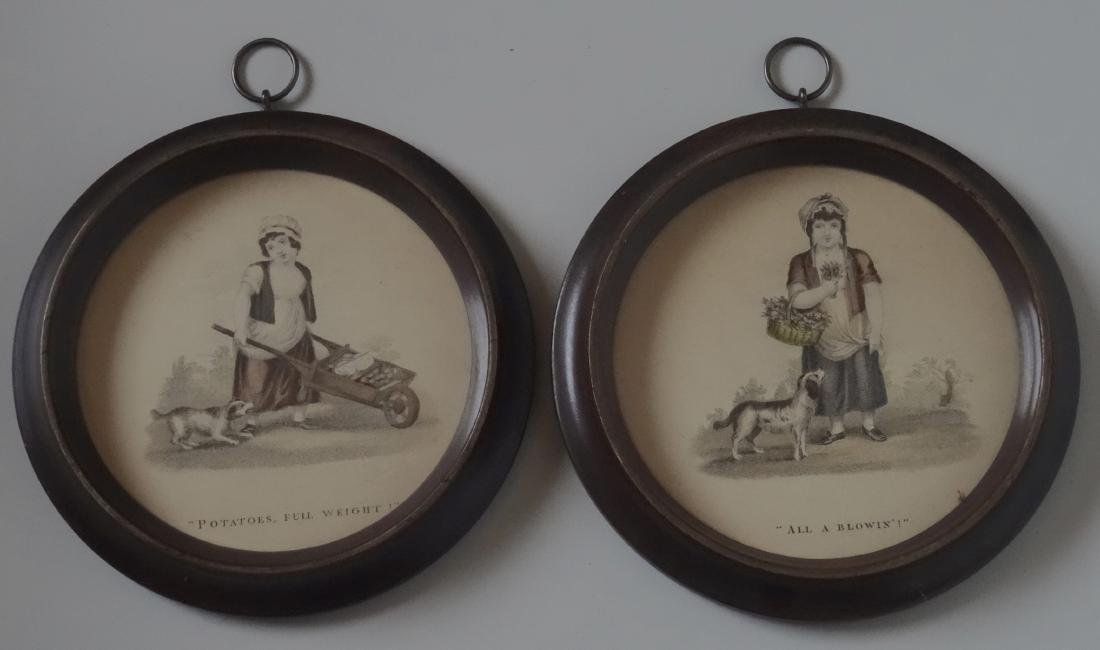 Victorian Gardening Girl Pair Roundel Framed Prints